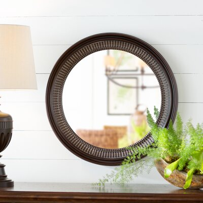 Round Brown Wall Mirror