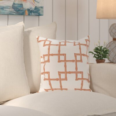 Connelly Bamboo  Geometric Outdoor Throw Pillow Color: Coral, Size: 16 H x 16 W