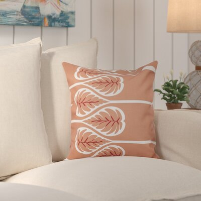 Hilde Fern 1 Outdoor Throw Pillow Size: 18 H x 18 W, Color: Coral