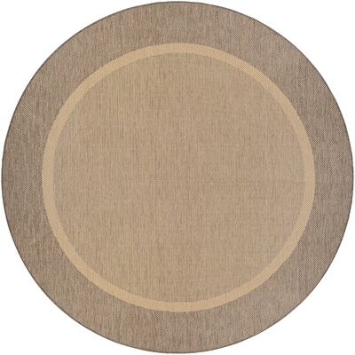 Linden Texture Beige/Brown Indoor/Outdoor Area Rug Rug Size: Round 76