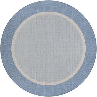 Linden Texture Blue/Gray Indoor/Outdoor Area Rug Rug Size: Round 76