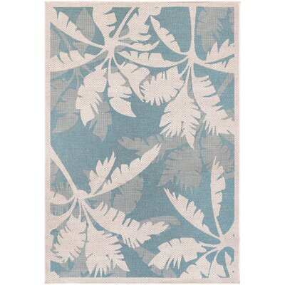 Cao Coastal Flora Ivory/Turquoise Indoor/Outdoor Area Rug Rug Size: 53 x 76