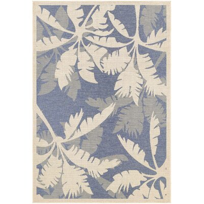 Odilia Coastal Flora Sapphire Indoor/Outdoor Area Rug Rug Size: Runner 23 x 71