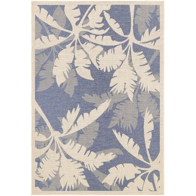 Odilia Coastal Flora Sapphire Indoor/Outdoor Area Rug Rug Size: Rectangle 39 x 55