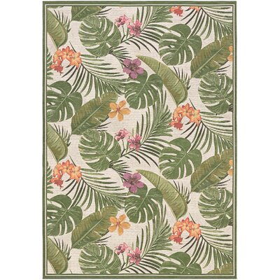Maren Flowering Fern Ivory/Green Indoor/Outdoor Area Rug Rug Size: 53 x 76