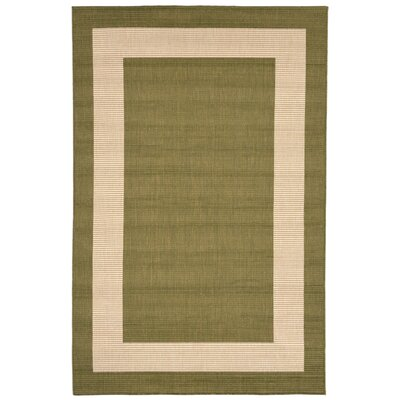 Aaliyah Border Power Loom Green Indoor/Outdoor Area Rug Rug Size: Rectangle 33 x 411