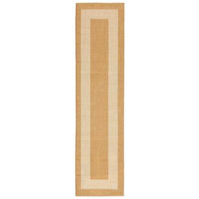 Bynum Border Almond/Camel Indoor/Outdoor Area Rug Rug Size: Runner 111 x 76
