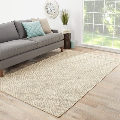 Raposa Hand-Woven Brown/White Area Rug Rug Size: Rectangle 9 x 12