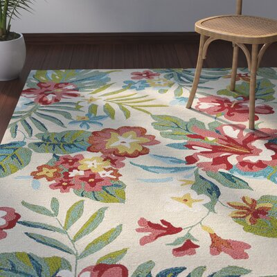 Artemi Cloud Cream/Claret Red Indoor/Outdoor Area Rug Rug Size: Rectangle 76 x 96