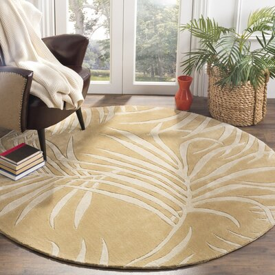 Palmnue Hand-Hooked Beige Area Rug Rug Size: Rectangle 4 x 6