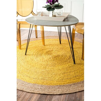 Merri Hand-Woven Yellow Area Rug Rug Size: Round 8