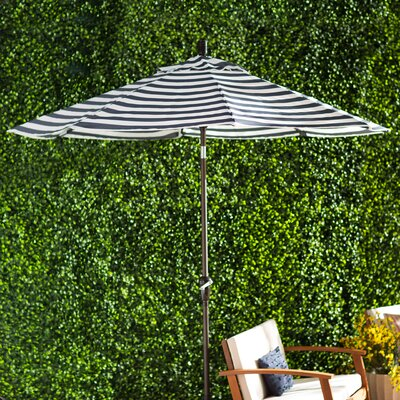 Priscilla 9 Market Umbrella Frame Finish: Bronze, Fabric: Olefin - Navy White Cabana Stripe