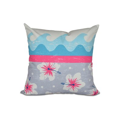 Golden Beach Floral Outdoor Throw Pillow Size: 20 H x 20 W, Color: Pink