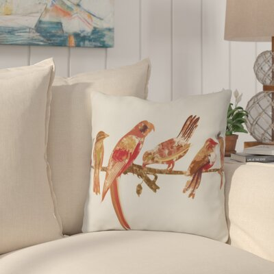 Shadybrook Morning Birds Animal Outdoor Throw Pillow Size: 16 H x 16 W, Color: Orange