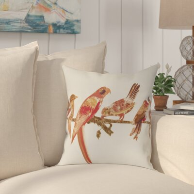 Shadybrook Morning Birds Animal Throw Pillow Size: 18 H x 18 W, Color: Orange