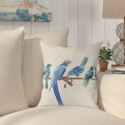 Shadybrook Morning Birds Animal Throw Pillow Size: 16 H x 16 W, Color: Royal Blue