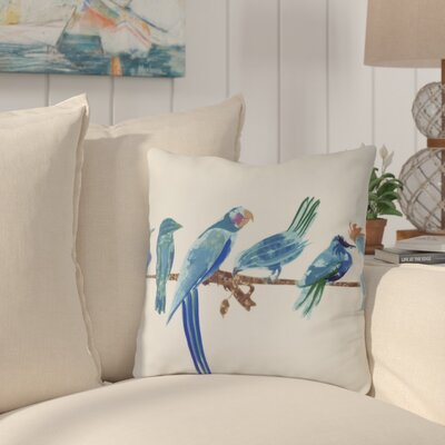 Shadybrook Morning Birds Animal Outdoor Throw Pillow Size: 20 H x 20 W, Color: Royal Blue