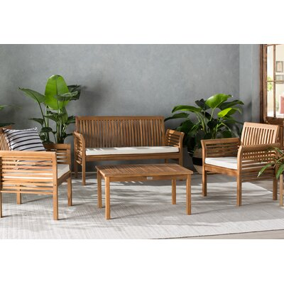 Glynn 4 Piece Seating Group with Cushion Finish: Teak Look