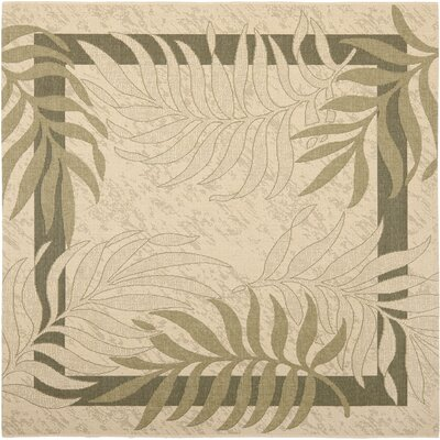 Amaryllis Cream/Green Indoor/Outdoor Rug Rug Size: Square 67