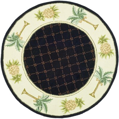 Hogle Black/Ivory Novelty Rug Rug Size: Round 4