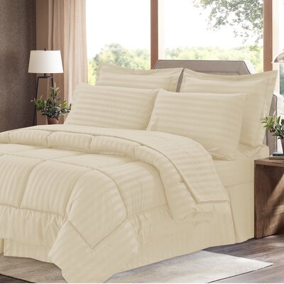 Brookshire 8 Piece Bed-In-A-Bag Set Color: Beige, Size: Queen