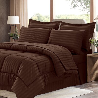 Brookshire 8 Piece Bed-In-A-Bag Set Color: Chocolate, Size: King