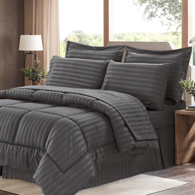 Brookshire 8 Piece Bed-In-A-Bag Set Color: Gray, Size: Queen
