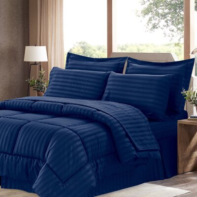 Brookshire 8 Piece Bed-In-A-Bag Set Color: Navy, Size: King