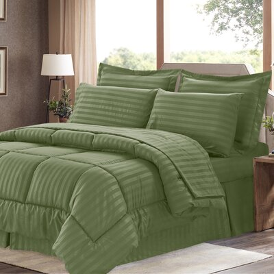 Brookshire 8 Piece Bed-In-A-Bag Set Color: Sage, Size: Queen