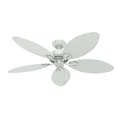 54 Key Biscayne 5-Blade Ceiling Fan Finish: White with White Wicker Blades