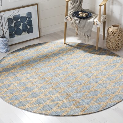 Montserrat Meigs Light Blue/Gold Area Rug Rug Size: Round 6