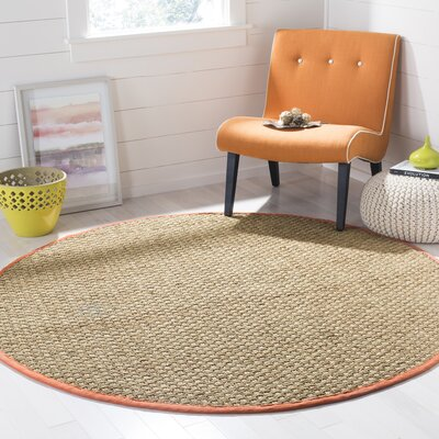 Mia Natural/Rust Area Rug Rug Size: Round 6