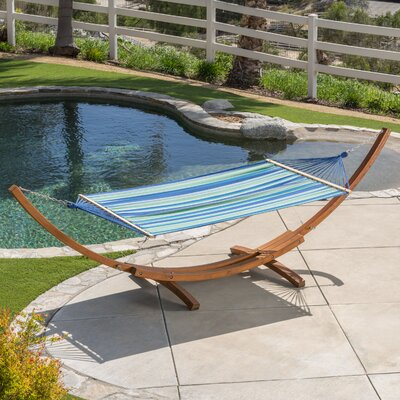 Kouklia Canvas Hammock with Stand Color: Blue/White/Green Stripe