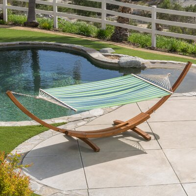 Kouklia Canvas Hammock with Stand Color: Blue Green Stripe