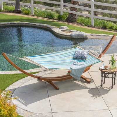 Kouklia Canvas Hammock with Stand Color: Blue/Yellow Stripe