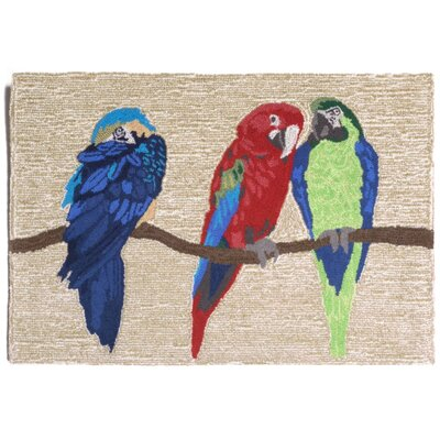 Glenshane Parrots Neutral Indoor/Outdoor Area Rug Rug Size: 2' x 3'