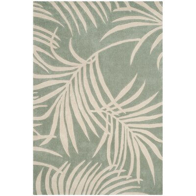 Palmnue Hand-Hooked Beige/Gray Area Rug Rug Size: Rectangle 6 x 9
