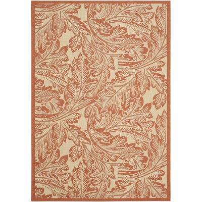 Amaryllis Natural/Terracotta Outdoor Area Rug Rug Size: Rectangle 53 x 77