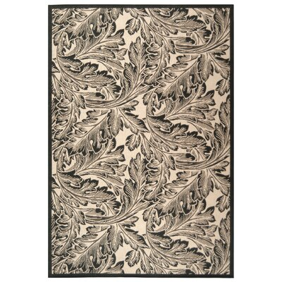 Alberty Sand/Black Outdoor Area Rug Rug Size: Rectangle 67 x 96