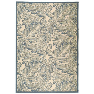 Amaryllis Natural/Blue Outdoor Area Rug Rug Size: Rectangle 67 x 96