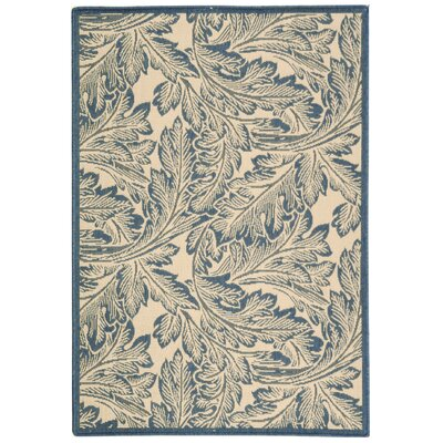 Amaryllis Natural/Blue Outdoor Area Rug Rug Size: Rectangle 4 x 57