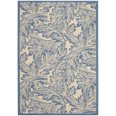 Amaryllis Natural/Blue Outdoor Area Rug Rug Size: Rectangle 53 x 77
