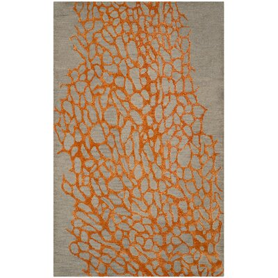 Morphou Hand-Hooked Gray/Orange Area Rug Rug Size: Rectangle 5 x 8