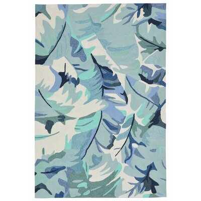 Rachael Hand-Tufted Blue Indoor/Outdoor Area Rug Rug Size: Rectangle 5 x 76
