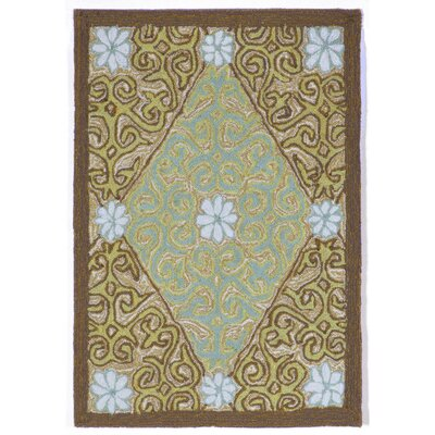 Demirhan Lakai Diamond Aqua Indoor/Outdoor Rug Rug Size: 2 x 3