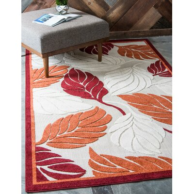 Westerly Beige/Red Indoor/Outdoor Area Rug Rug Size: Rectangle 5 x 8