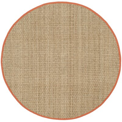 Morrisville Natural/Rust Area Rug Rug Size: Round 6
