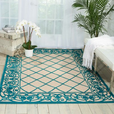 Seaside Aqua/Beige Indoor/Outdoor Area Rug Rug Size: Rectangle 53 x 75