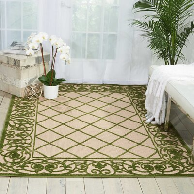 Seaside Green/Beige Indoor/Outdoor Area Rug Rug Size: Rectangle 53 x 75