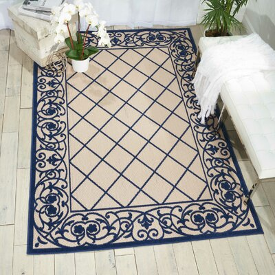 Seaside Navy/Beige Indoor/Outdoor Area Rug Rug Size: Rectangle 53 x 75